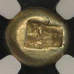 紀元前610-546年 リディア王国 吼えるライオン エレクトラム貨 エレクトロン貨 1/3スタテル スタテイル 金貨 世界最古 NGC