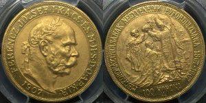 ハンガリー王国在位40周年100コロナ金貨