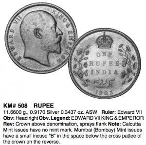 エドワード7世のルピー銀貨