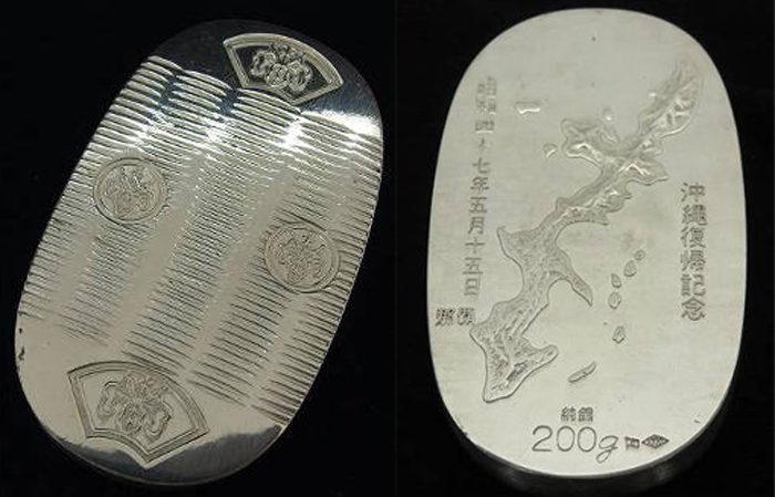 純銀 小判型メダル
