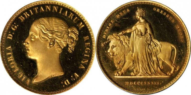 1839年ヴィクトリアのウナとライオン5ポンド金貨の価値