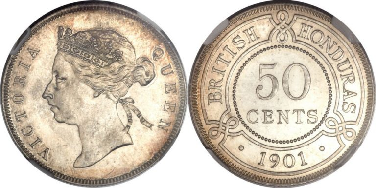 英国領ホンジュラスのビクトリア50セント銀貨の価値