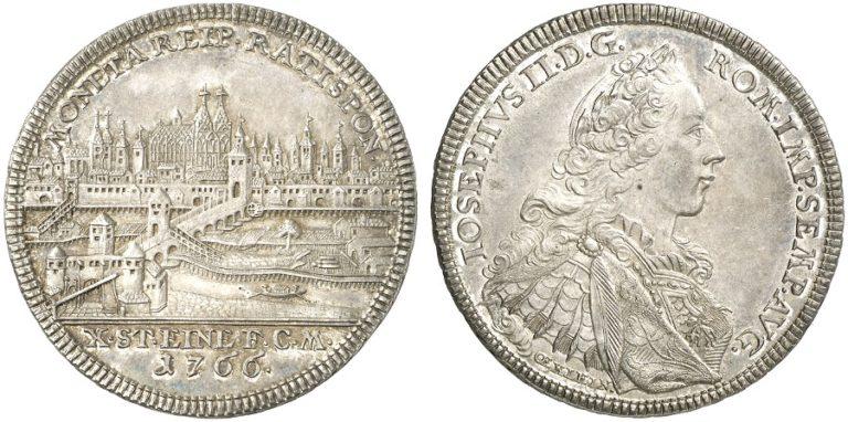 1766年ヨーゼフ2世のレーゲンスブルグ都市景観ターレル銀貨の価値