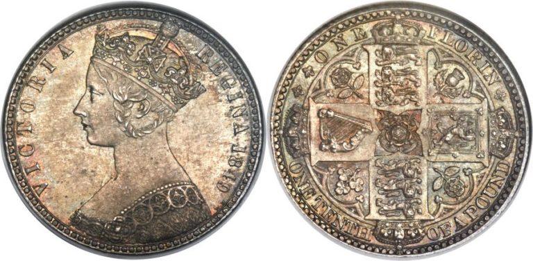 1849 1848年ヴィクトリアのゴッドレスフローリン銀貨の価値