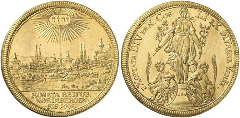 1698年ドイツニュルンベルクの都市景観6ダカット金貨について