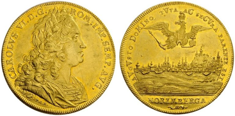 1721年カール6世の都市景観10ダカット金貨について