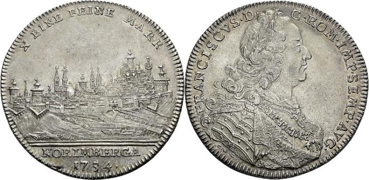 1754年フランツ1世の都市景観ターラー銀貨の価値