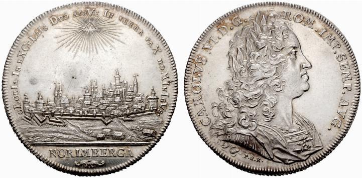 1736年ニュルンベルクのカール6世の都市景観銀貨の価値と買取相場