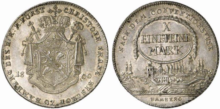 1800年ドイツ バンベルクの都市景観ターラー銀貨の価値
