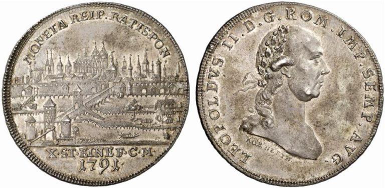レオポルト2世のレーゲンスブルク都市景観ターラー銀貨の価値