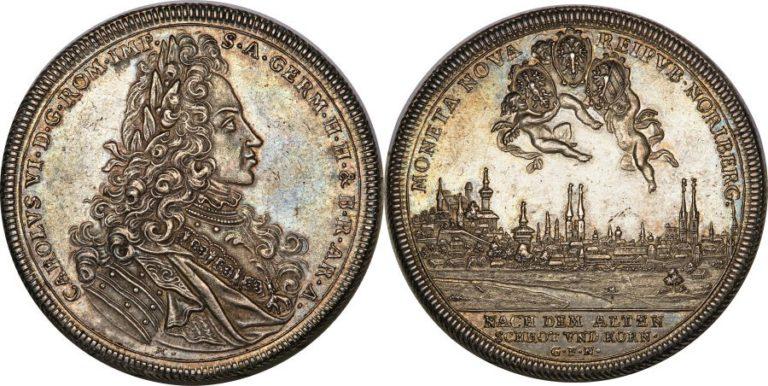1711年ニュルンベルクの都市景観2ターラー大型銀貨について