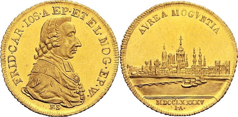 1795年ドイツマインツの都市景観ダカット金貨の価値