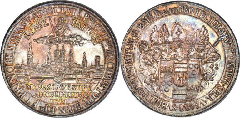 1661年ドイツ ミュンスターの都市景観ターレル銀貨の価値