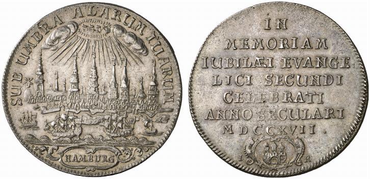 1717年ドイツ ハンブルクの都市景観ターラー銀貨の価値