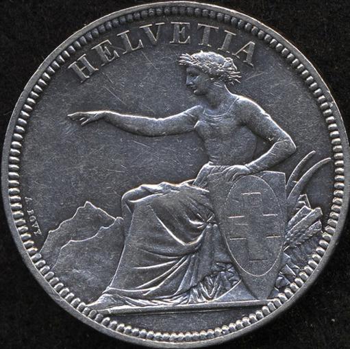 1855年ゾロトゥルン射撃祭5フラン銀貨の価値と買取相場