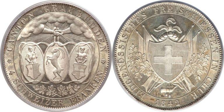 1842年グラウビュンデン4フランケン銀貨の価値と買取相場