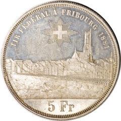 1881年フライブルク射撃祭5フラン銀貨
