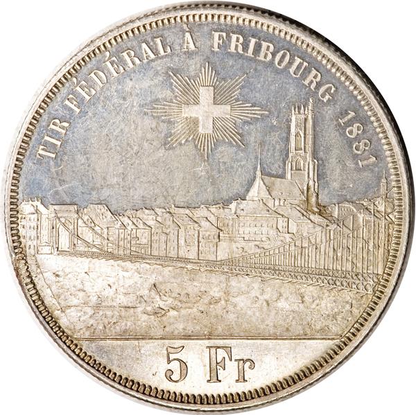 1881年スイス射撃祭フライブルク5フラン銀貨の価値と買取相場