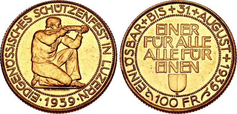1939年ルツェルン射撃祭100フラン金貨の価値と買取相場