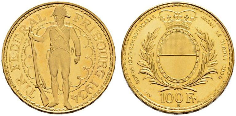 1934年フライブルク射撃祭100フラン金貨の価値と買取相場
