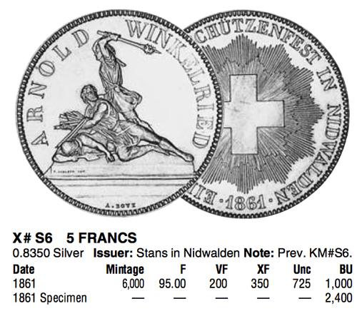 1861年射撃祭ニトヴァルデン5フラン銀貨カタログ