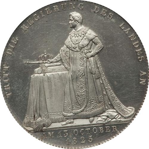 1825年ルートヴィヒ1世戴冠記念ターラー銀貨