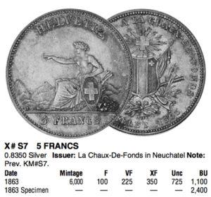 1863年ラ・ショー=ド=フォン ヌーシャテル射撃祭5フラン銀貨