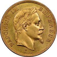 月桂冠ナポレオン3世100フラン金貨