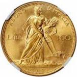 ヴィットリオ・エマヌエレ3世の麦を刈る女神100リレ金貨の価値と買取相場
