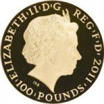 2011年ジュピター神エリザベス2世100ポンド金貨