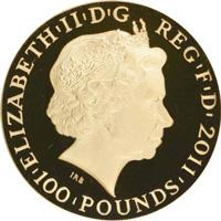 2011年ジュピター神エリザベス2世100ポンド金貨の価値と買取相場