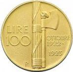 ヴィットリオ・エマヌエレ3世1923年ファシスト政権1周年100リレ金貨