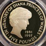 英国 イギリス 1999年 ダイアナ妃 追悼 5ポンド プルーフ銀貨 エリザベス PCGS PR66DCAM