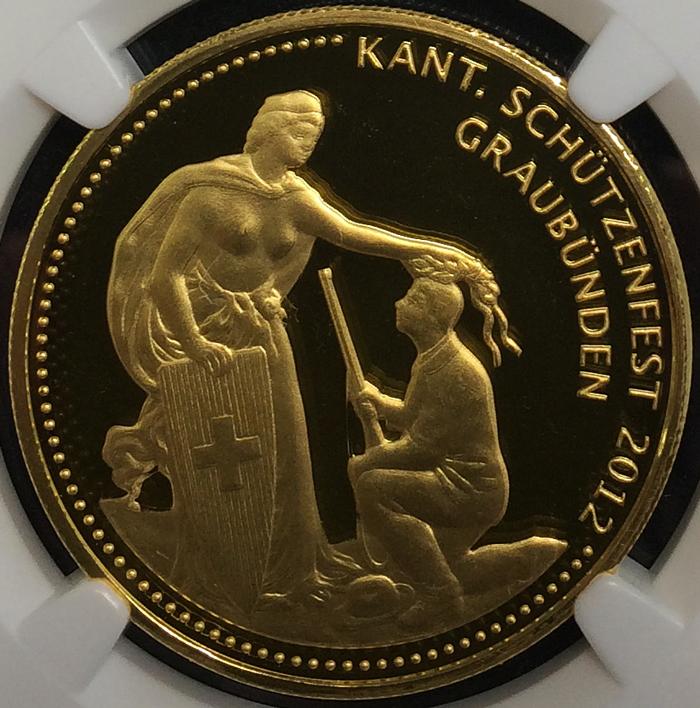2012年グラウビュンデン現代射撃祭500フラン金貨の価値と買取相場