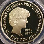 英国 イギリス 1999年 ダイアナ妃 追悼 5ポンド プルーフ銀貨 エリザベス PCGS PR67DCAM