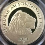 スイス 現代射撃祭 50フラン銀貨 1992年 コイン PCGS PR69DCAM プルーフディープカメオ