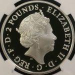 英国 イギリス ブリタニア エリザベス 2ポンド銀貨 NGC PF70 ULTRA CAMEO プルーフ 2016年