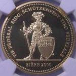 スイス 現代射撃祭 ビエール ビーレ 500フラン金貨 2000年 コイン PF70 ULTRA CAMEO