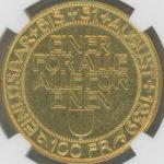 スイス 1939年 100フラン金貨 ルツェルン 射撃祭 硬貨 コイン NGC MS61 未使用