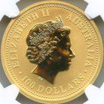 オーストラリア 辰年 エリザベス 100ドル金貨 2000年 NGC MS70 完全未使用