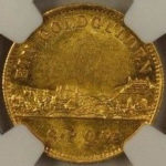 ドイツ バイエルン ゴールドグルデン金貨 1864年 ルートヴィヒ2世 ヴュルツブルク都市景観 NGC MS61