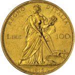 イタリア 1912年 100リラ金貨 リレ ヴィットリオ エマヌエレ3世 豊穣の女神 麦を刈る女神 NGC MS62
