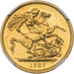 英国 イギリス 1887年 プルーフ 2ポンド金貨 ソブリン ビクトリア ヴィクトリア コイン NGC PF61 CAMEO