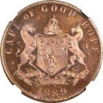 英国 南アフリカ ビクトリア ペニー貨 ヤングヘッド 1889年 試鋳貨 ヴィクトリア NGC PF64 プルーフ