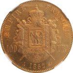 フランス 1862年 ナポレオン三世 100フラン金貨 月桂冠 コイン NGC AU55